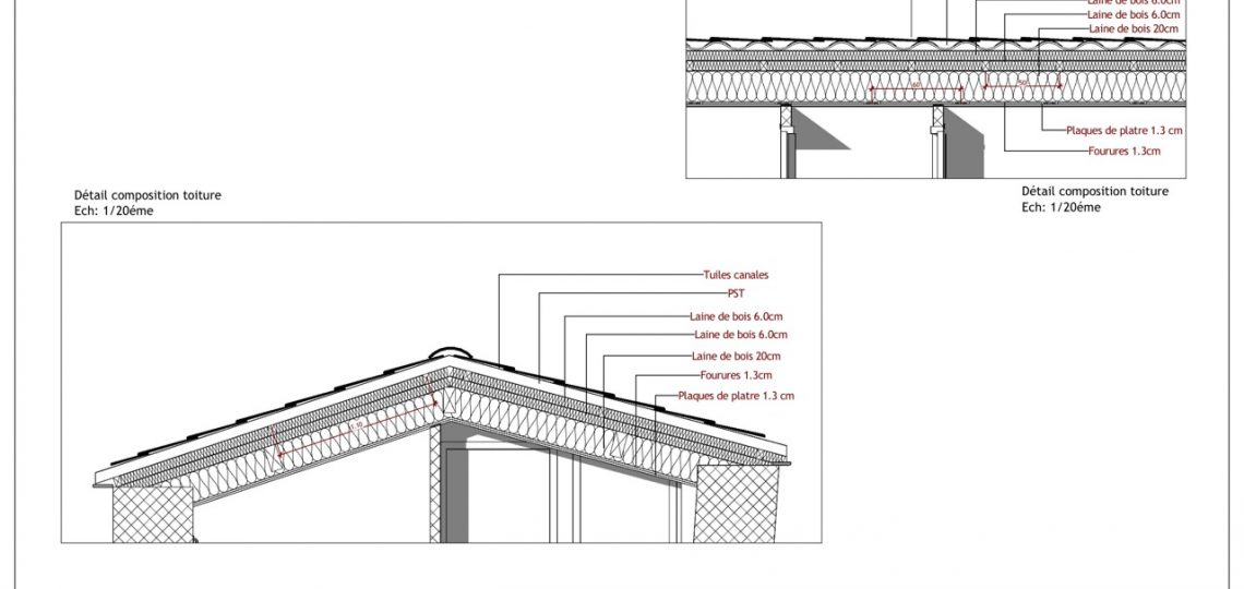 Détails toiture en coupe AA & BB APS